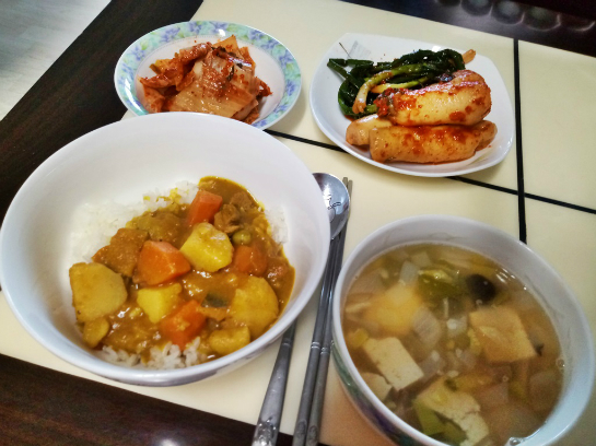[여가/사진]언니들이 준 쌀튀밥과 단호박카레~ 야채된장국 곁들임